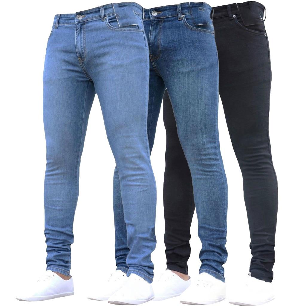 Fashion Men Solid Ripped Skinny Biker Zipper Men's Pure Color Denim Cotton Vintage Wash Hip Hop Work Trousers Jeans Pants S-4XL
