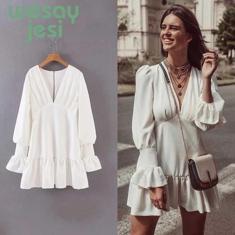 Dress Women solid white V-neck full-Sleeve Vestidos office Female Vintage Dresses 2019 vestidos de fiesta noche casual