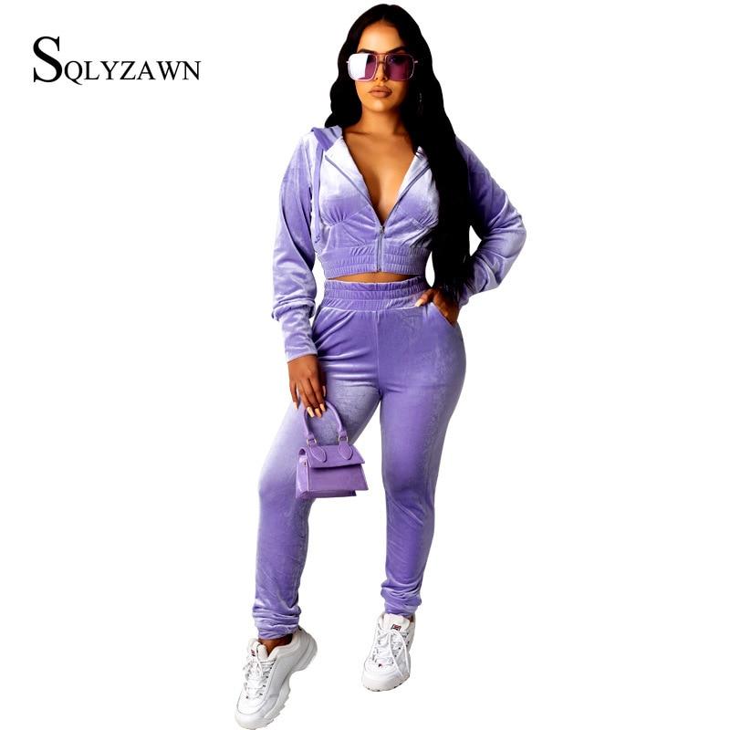 Velvet Suit Famale Autum Long Sleeve Cropped Jacket Trousers Casual Women Purple Blue Loose Sporty Set Velour 2ps Matchig Set