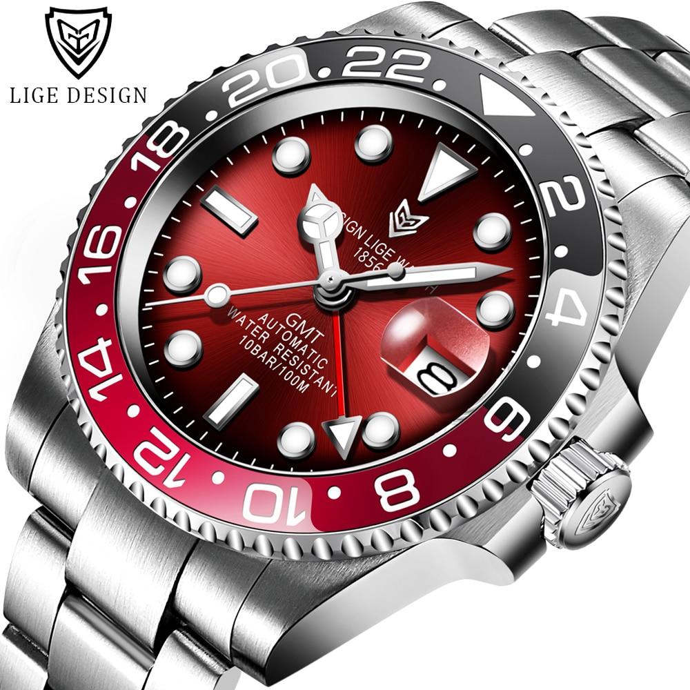 Reloj Hombre LIGE 2020 New Sports Men Mechanical Wristwatch Stainless Steel 100ATM Waterproof Watch Top Luxury Brand Men Watches 1