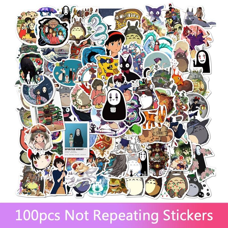 50/100PCS Miyazaki Hayao Anime Stickers Moving Castle Spirited Away Cartoon Stickers For Bike Laptop Book Luggage Kids Toys 1