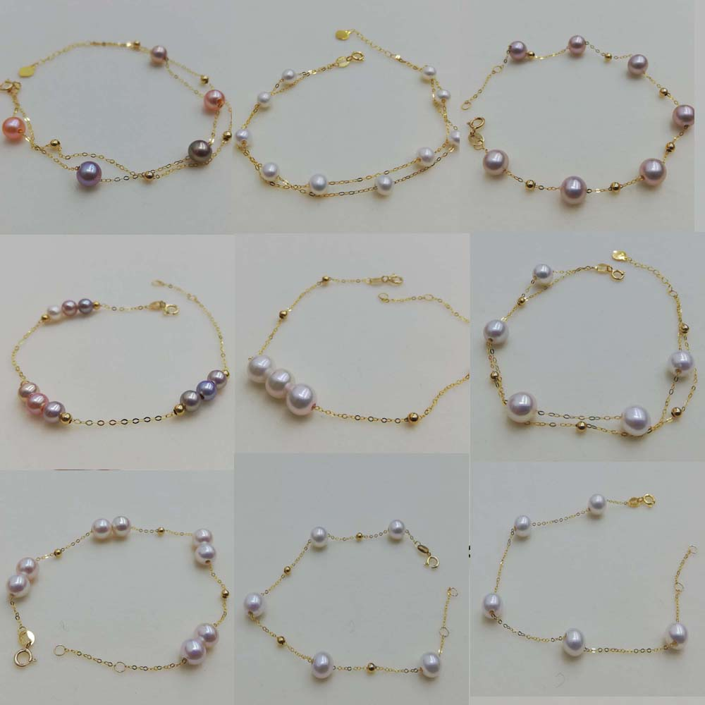 New AAA Natural round real pearl G18K gold  chain bracelet various style option girl's jewelry