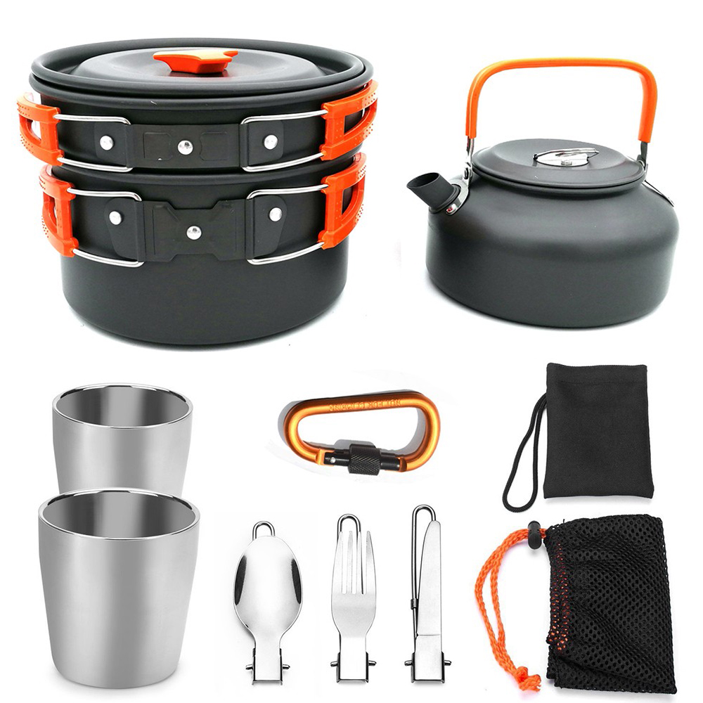 9Pcs Portable Camping Tableware Outdoor Hiking Picnic Teapot Pot Set Cooking Set Travel Cookware Outdoor Camping Cook Kit-in Outdoor Tablewares from Sports & Entertainment
