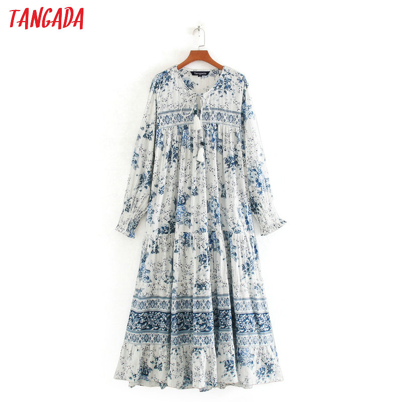 Tangada Fashion Women Blue Print Maxi Dress Tassel Boho Style Long Sleeve Ladies Vintage Long Dress Vestidos CE231