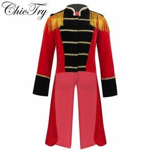 Image 1 - 4 8 yaş çocuklar erkek çocuk sirk Ringmaster kostüm standı yaka saçaklı altın süslemeler Tailcoat ceket cadılar bayramı Cosplay için