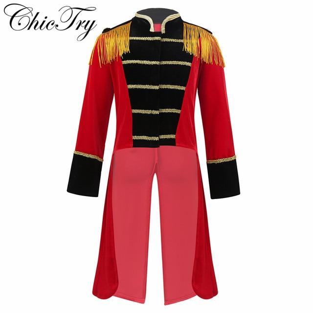 4 8 yaş çocuklar erkek çocuk sirk Ringmaster kostüm standı yaka saçaklı altın süslemeler Tailcoat ceket cadılar bayramı Cosplay için