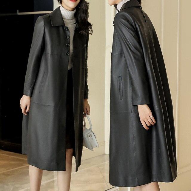 Jaqueta de couro preto topos marca feminina moda lazer solto casaco de pele carneiro primavera outono plus size longo couro genuíno trincheira
