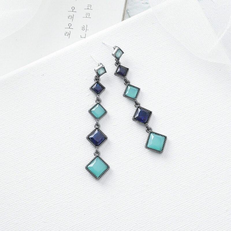 2020 Korean New Blue Long Tassel Style Retro Earrings Personalized Fashion Earrings Elegant Gentle Lady Jewelry
