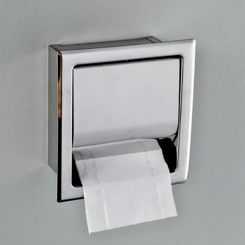 Stainless Steel Built-in Toilet Paper Box In-wall Installation Tissue Box Tray Concealed Bathroom Hidden Roll Holder