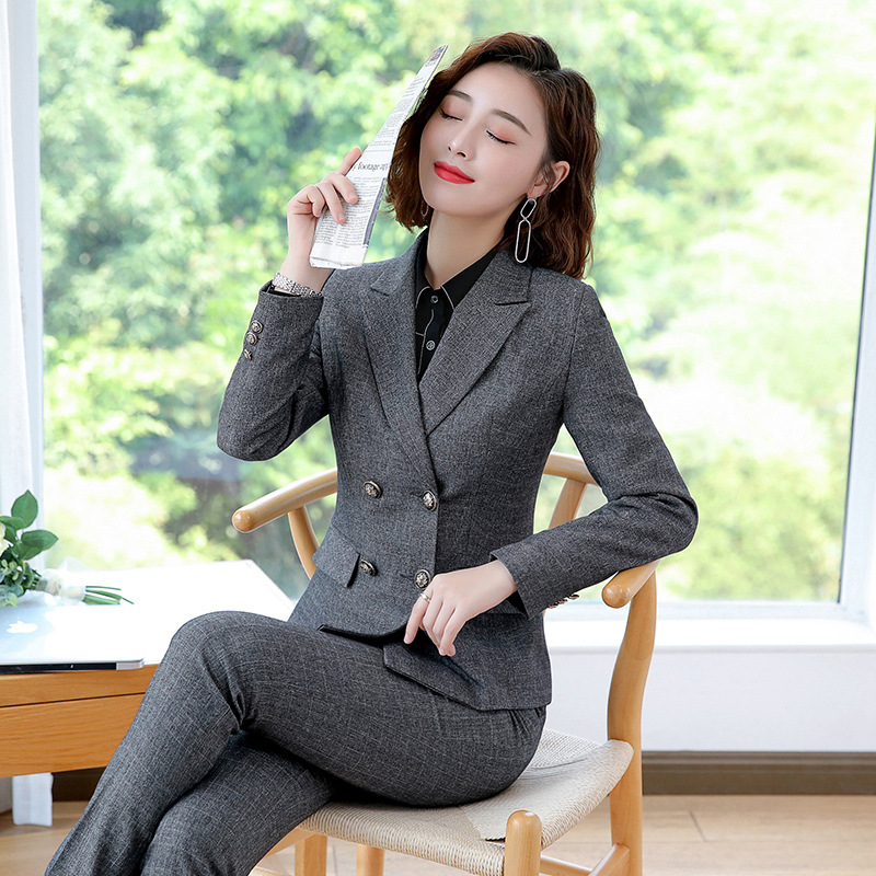 Large Size S-4XL High Quality Casual Women's Suits Autumn Casual Double-breasted Full-sleeve Suit Female Slim Trouser Suit 2019