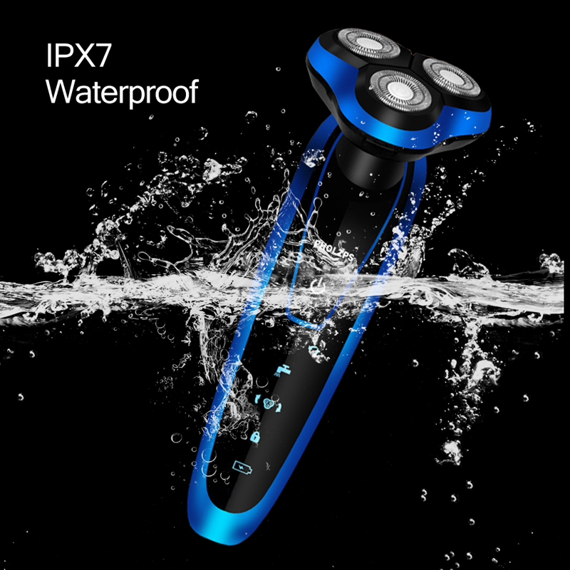 IPX7 Waterproof Electric Shaver Men Washable Beard Trimmer Rechargeable Shaving Machine 3D Triple Floating Blade Heads Razor 42D