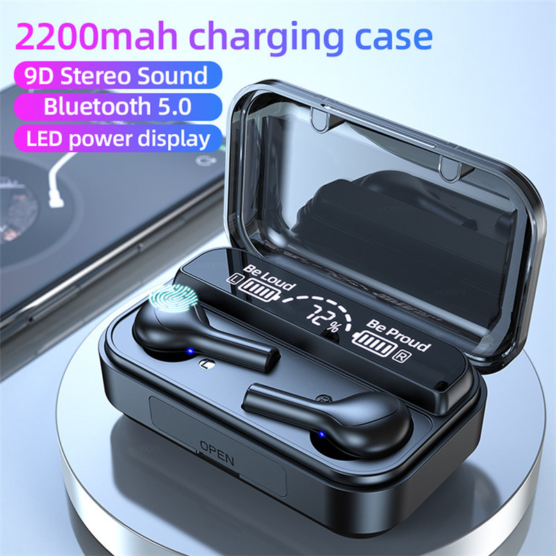 TWS Earphone with 2000mAh Charging Case IPX7 Waterproof Ear Buds Mini Wireless BT 5.0 Earbuds Touch Control LCD Display PK I12