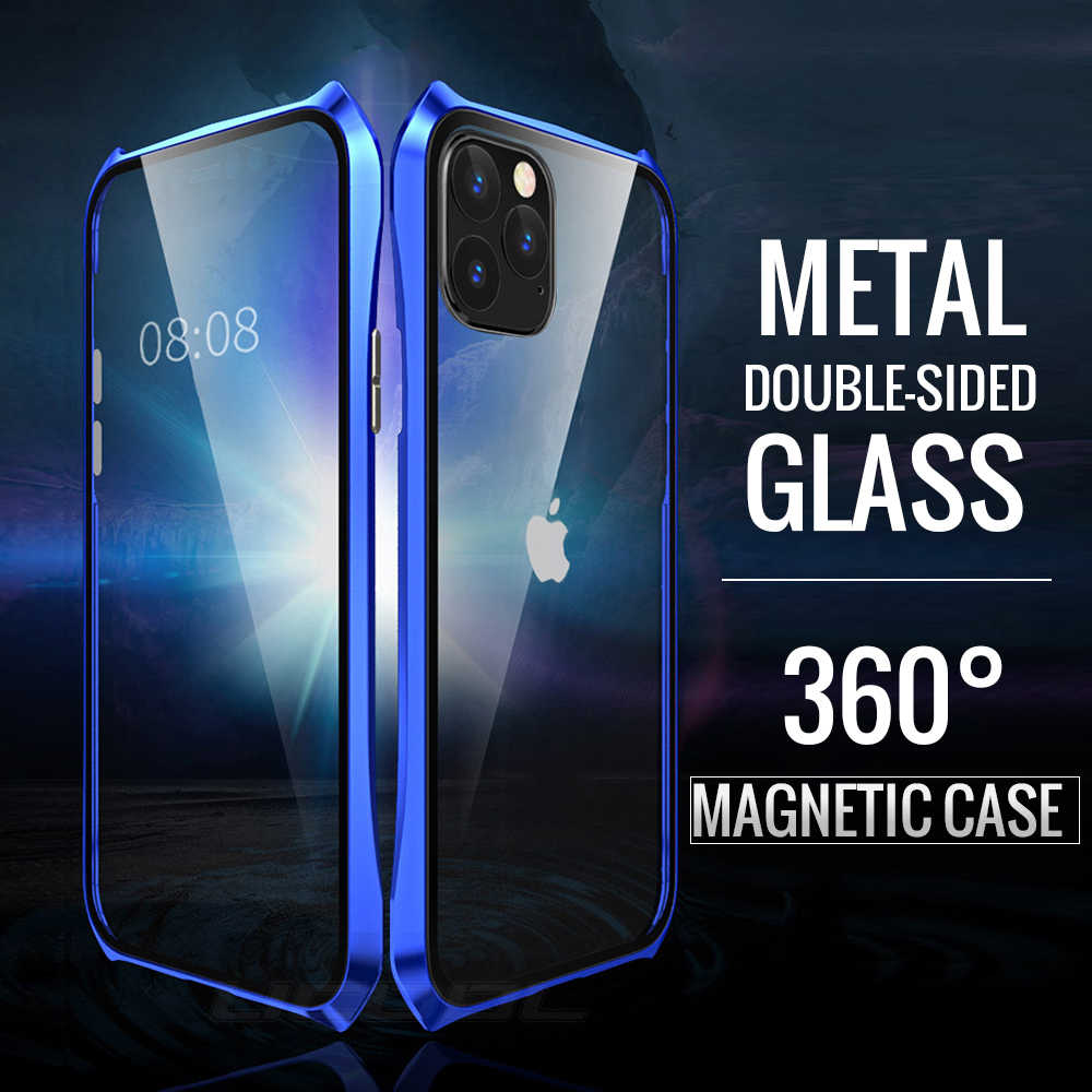 Double Sided Back+Front Glass Magnetic Case For Apple iPhone 11 Pro Max Luxury Aluminum Metal Bumper 360 Protective Cover Coque