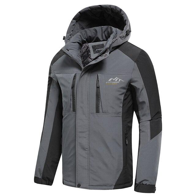 Oiata Men 2021 Spring New Brand Outdoor Vintage Thick Jacket Coat Men Autumn Fashion Patchwork Waterproof Pockets Hat Jackets 3