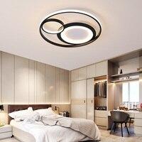 Modern LED Chandelier Bedroom Balcony kitchen Lustre Round Ceiling Chandelier Lighting Fixture Lampara Techo Black/White Lamps