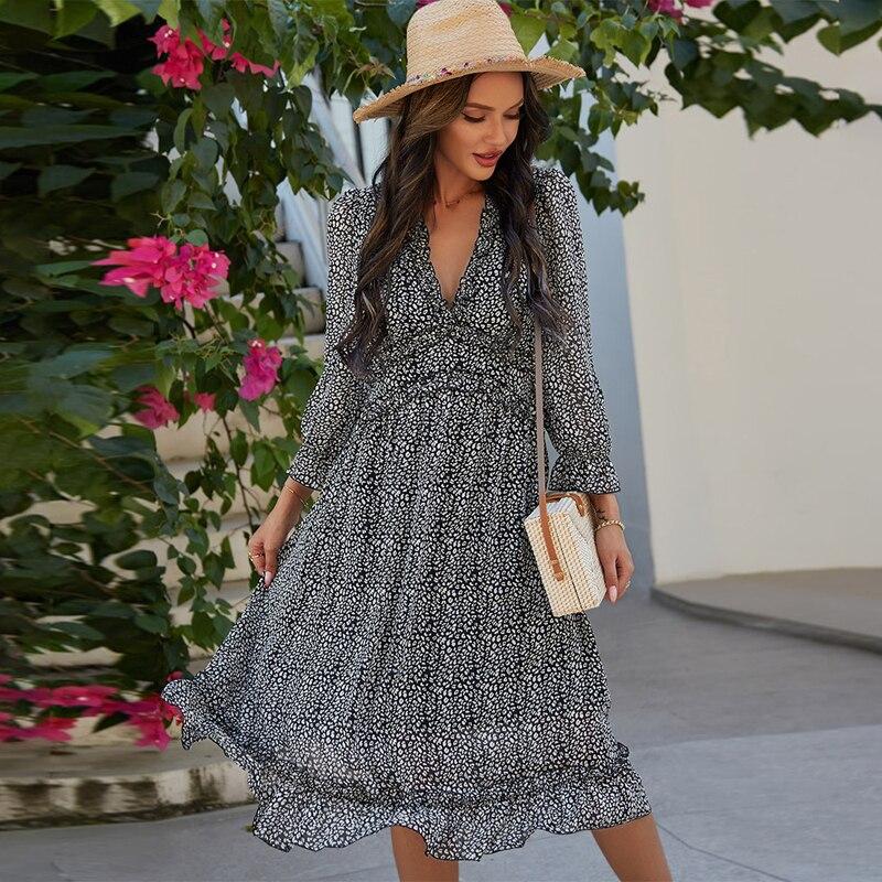 2021 wiosna nowy Sexy V szyi sukienka z nadrukiem kobiety na co dzień rękaw motylek sukienka z wysokim stanem dla kobiet Sexy lato szyfonowa sukienka