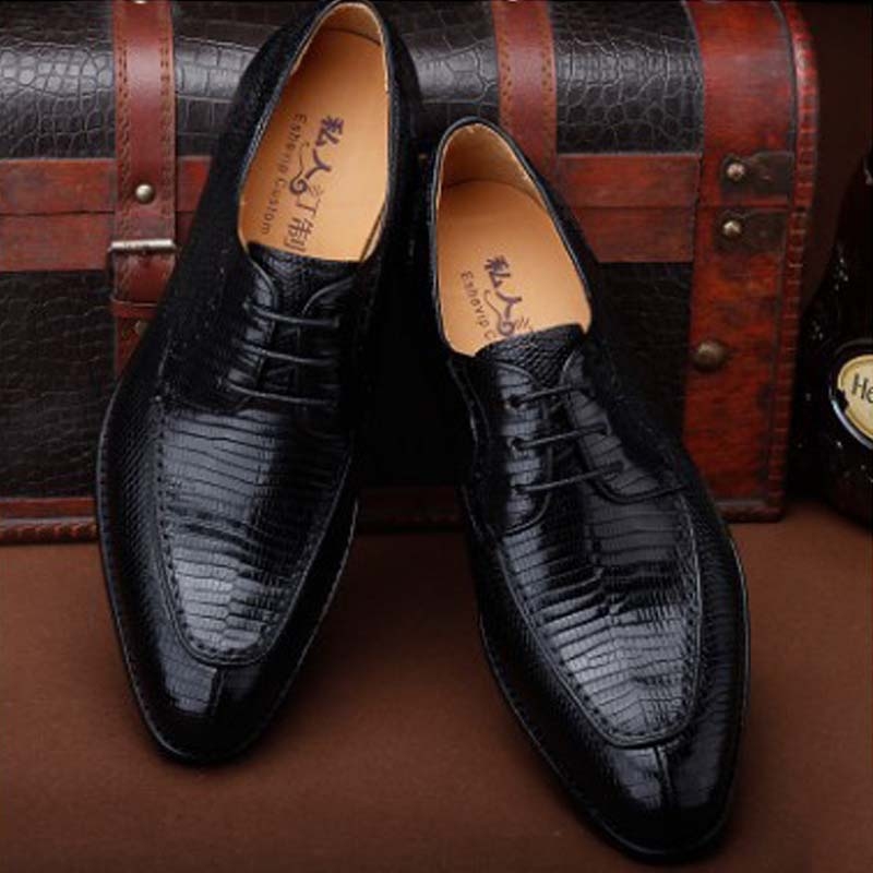 Ourui New Genuine Lizard Skin Men's Business Suit Men Handmade Leather Shoes Men Shoes