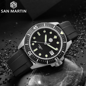 Image 2 - San Martin Diver Men Watch Stainless Steel NH35A Automatic Mechanical Sapphire Glass Rubber Strap Luminous Water Resistant 200M