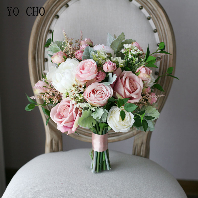 YO CHO Bride Wedding Bouquet Handmade Artificial Silk Rose Baby's Breath Flower Pink White Luxurious Bouquets Wedding Supplies