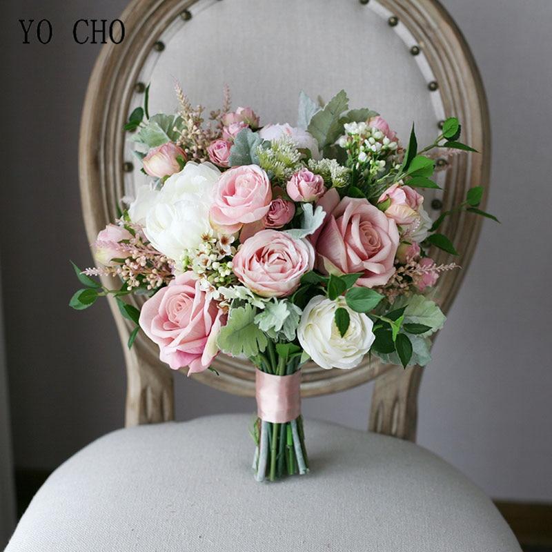 YO CHO Bride Wedding Bouquet Handmade Artificial Silk Rose Baby's Breath Flower Pink White Luxurious Bouquets Wedding Supplies