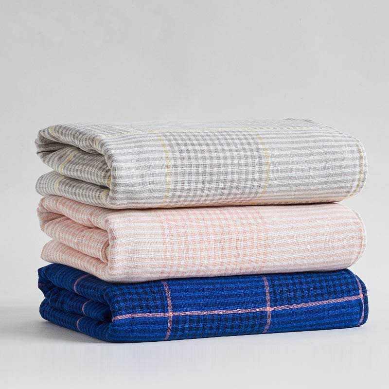 Cotton Gauze Sofa Couch Plaid Soft Office Car Blanket Bedding Armchair Coverlet