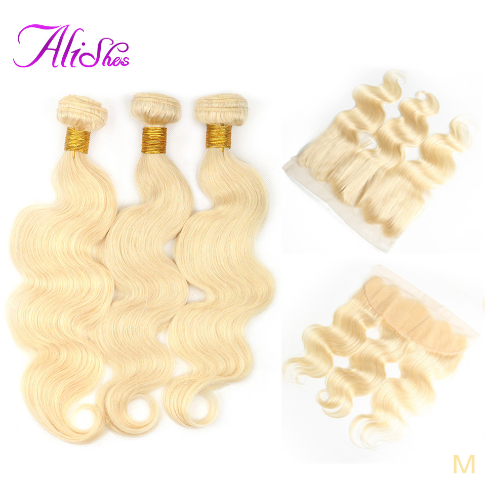 Alishes <font><b>613</b></font> <font><b>Body</b></font> <font><b>Wave</b></font> <font><b>Bundles</b></font> with Frontal Brazilian <font><b>613</b></font> Blonde <font><b>Hair</b></font> <font><b>3</b></font> <font><b>Bundles</b></font> with 13x4 Transparent Lace Closure Remy <font><b>Hair</b></font> image