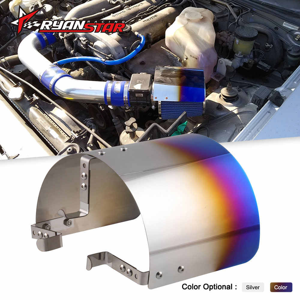"Air Intake Filter Cover Hitteschild Voor Racing Car 2.25 ""Tot 3.5"" Filter Universele Rvs Neo Chrome zilver"