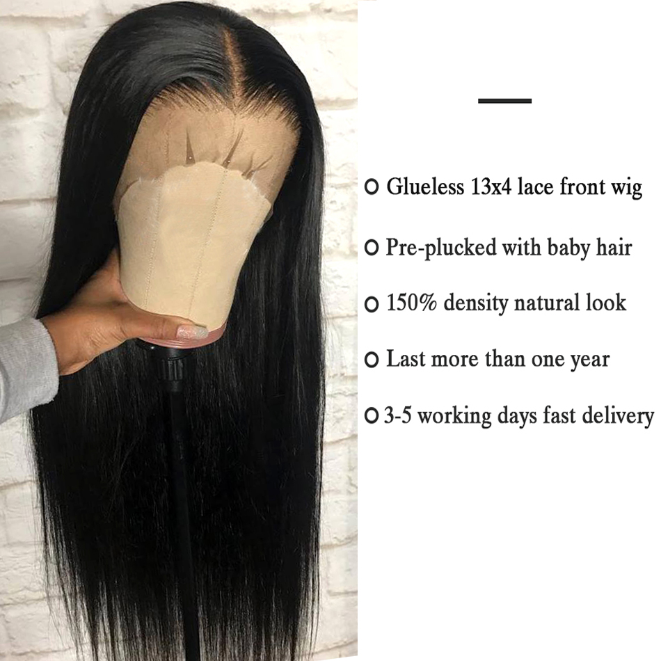 Lace-Front-Human-Hair-Wigs-Straight-Pre-Plucked-Hairline-Baby-Hair-8-26-Inch-13x4-150