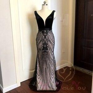 Image 3 - Robe de soirée longue noire avec traîne, robe de bal, style sirène, avec décolleté en dentelle, paillettes, robe de bal, style dubaï, 2020