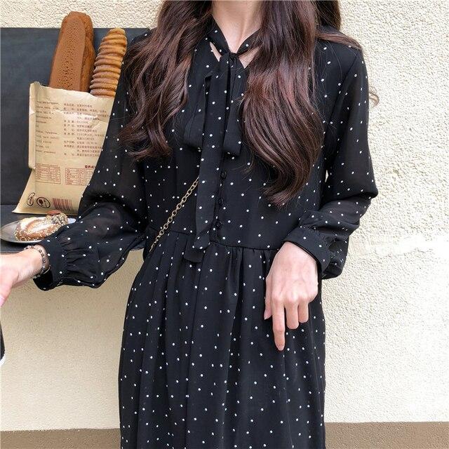 Elegant Polka Dots Print  Chiffon Loose Long Dress   3