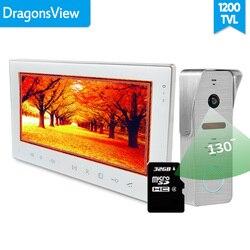 [Gran angular] Dragonsview Sistema de videoportero de 7 pulgadas con tarjeta SD Video puerta teléfono timbre Kits desbloquear 130 grados IR