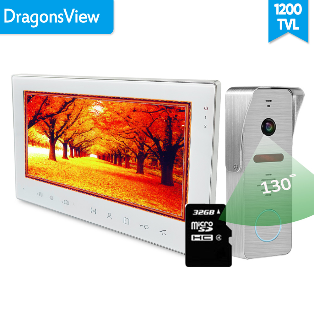 [Wide Angle] Dragonsview 7 Inch Video Intercom System With SD Card Video Door Phone Doorbell Kits Unlock 130 Degree IR