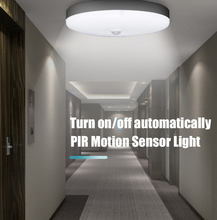 Luz LED inteligente con Sensor de movimiento nocturna, 5w, 7W, 9W, 12W, 18W, 220V, lámpara con Sensor PIR, luces de techo para el hogar, escalera, pasillo, blanco