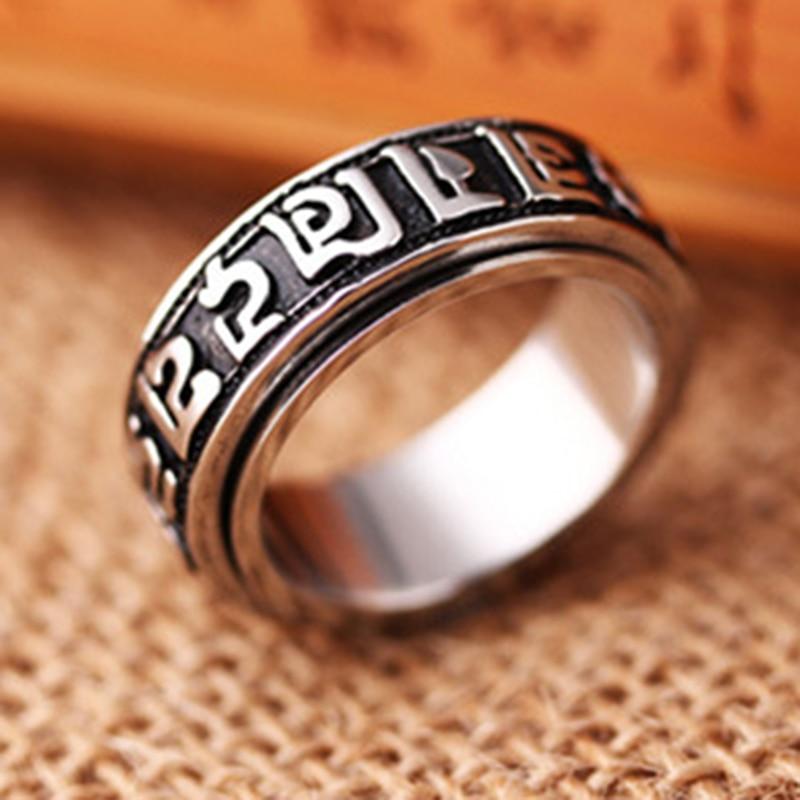 Tibetan Silver Rotating Blessing Ring Can Rotate Power Sanrit Buddhist ManPF