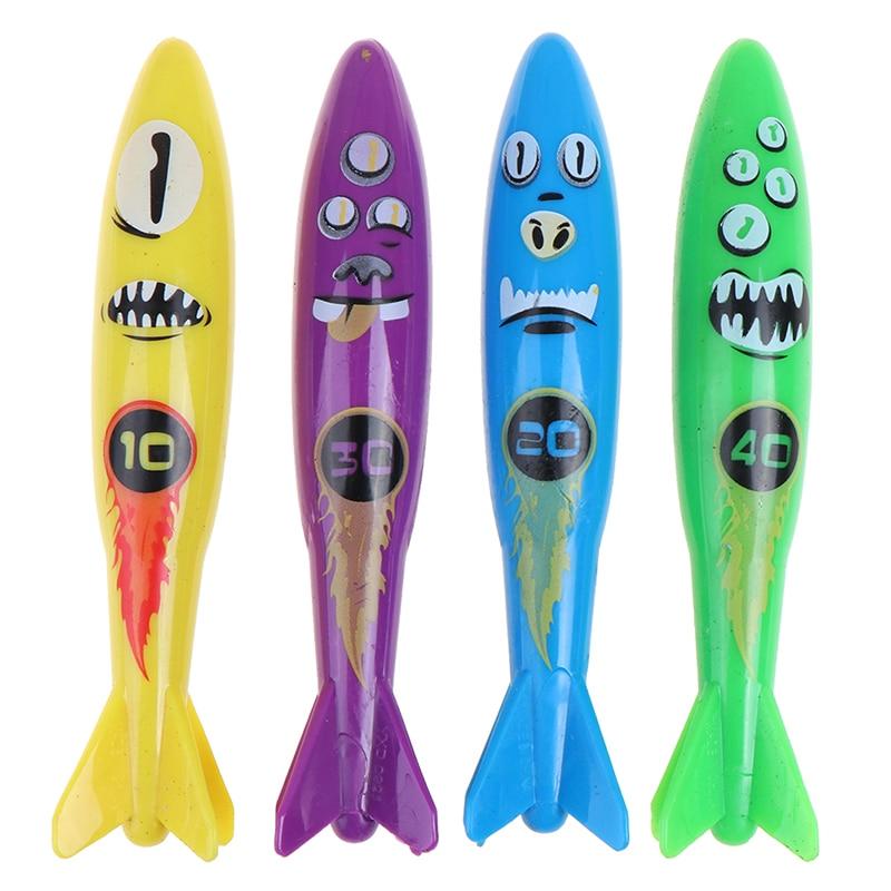 4PCS Torpedo Rocket Throwing Toy Pool Game Toy Seaweed Grass Swimming Pool Summer Beach Sticks Toys For Children