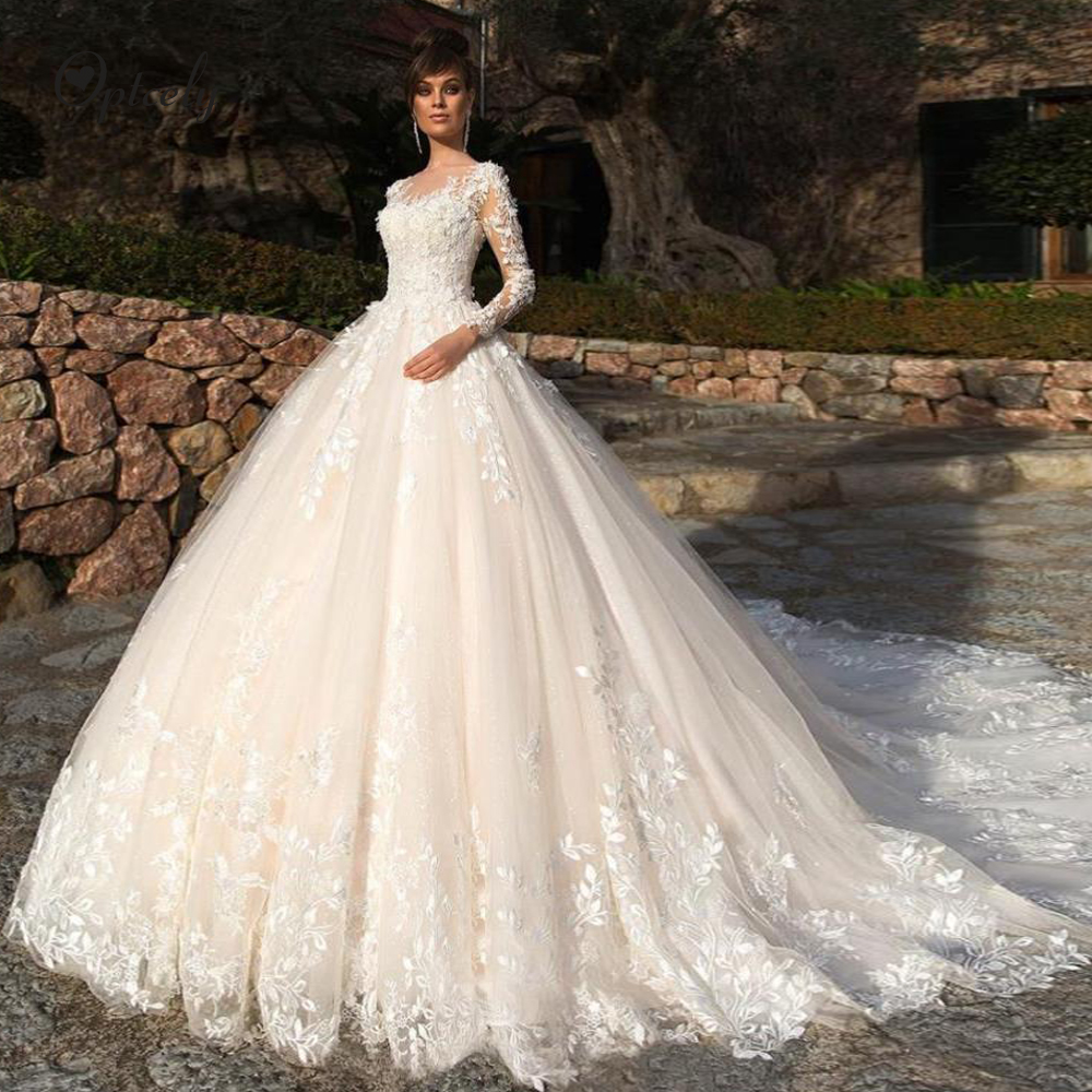 Optcely Vestido De Noiva Unique Design Scoop Neck Champagne Tulle A-line Wedding Dress 2019 Long Sleeves Appliques Beaded Gowns