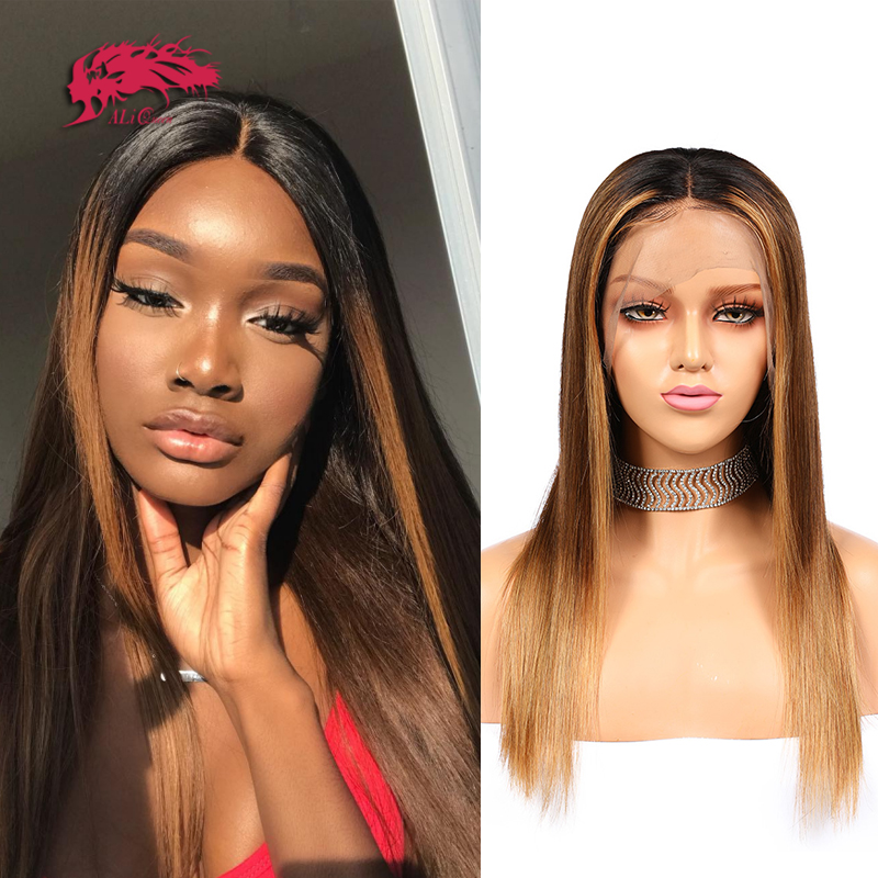 """Ombre Straight Lace Front Wig Pre Plucked Hairline 13x4 / 13x6 Lace Front Wig 8-26"""" 360 Lace Frontal Wig"""