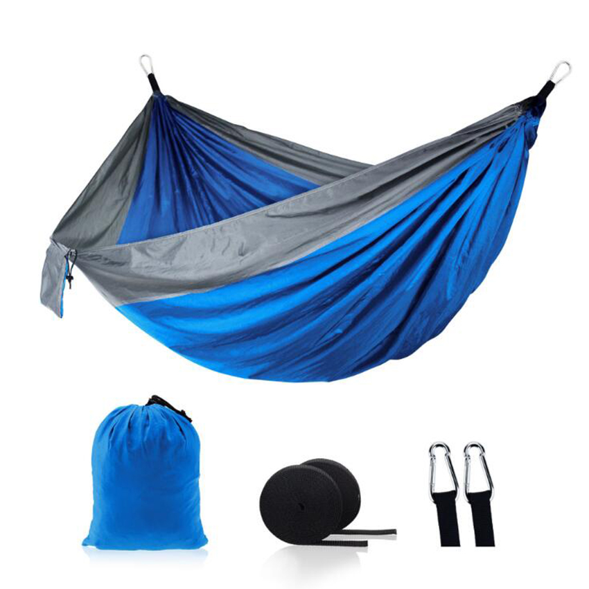 Portable Lightweight Nylon Parachute Double Hammock Multifunctional 2 People Camping Backpacking Travel Beach Yard Garden