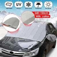 240x140cm grosso carro pára-brisas capa peva magnética anti neve uv geada gelo inverno com espelho protetor à prova dwaterproof água