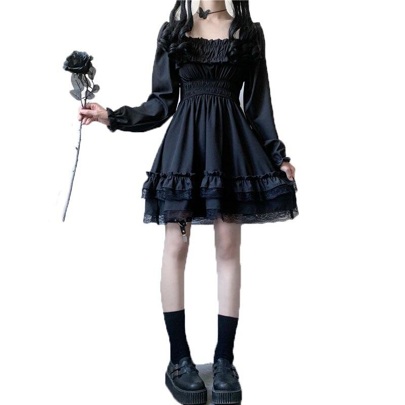 Nyfs 2021 nova mulher preto mini vestido de cintura alta vestido gótico puff manga rendas babados vestidos festa