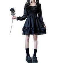 NYFS 2021 новые женские черные мини платье с высокой талией в готическом стиле, с буфами на рукавах, кружевным гофрированным воротником вечерни...