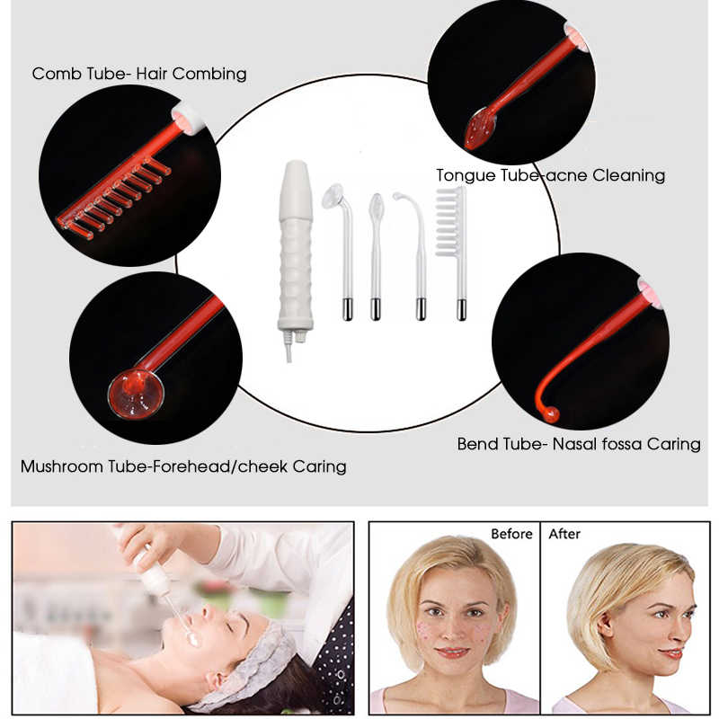 4 في 1 عالية التردد العلاج الكهربائي عصا الوجه المضادة للالتهابات مدلك العلامة بقعة حب الشباب مزيل الشعر سبا الجسم أداة العناية بالجمال