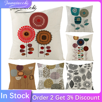 Fuwatacchi Cushion Cover Linen Printed for Chair Pillow Covers Decoration Home Sofa Throw PillowCases 45cmX45cm fuwatacchi linen lovely bird printed cushion cover flower photo pillow cover for home chair sofa decorative pillowcases 450x45cm