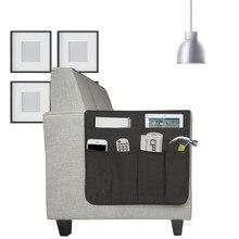 Sofa Chair Recliner Armrest Organizer With 6 Pockets Remote Control Phones Holder Magazine Rack Linen Sofa Armrest Storage Bag