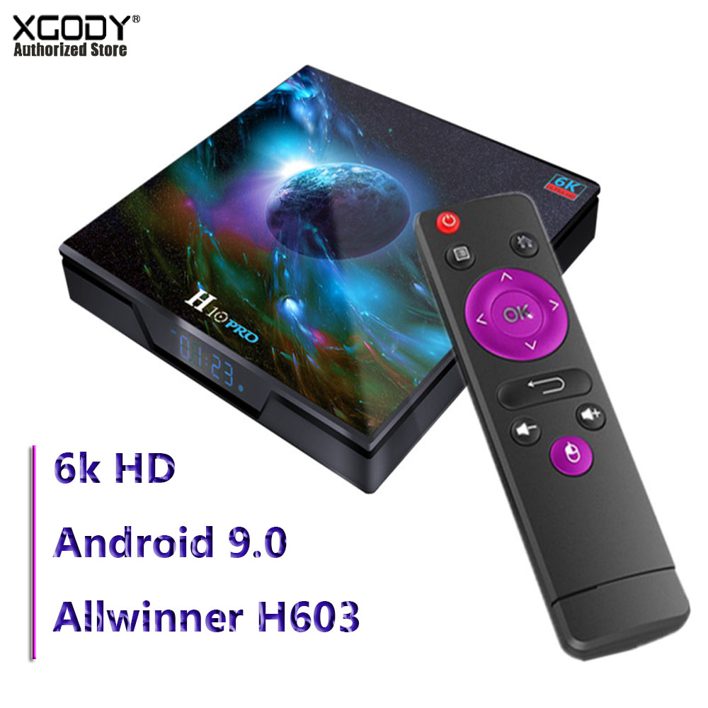 H10 Pro Android 9.0 6k HD TV Box Quad Core 64-bit Wifi Connected Media Player 4GB 32GB Multiple Language Support Set Top Box