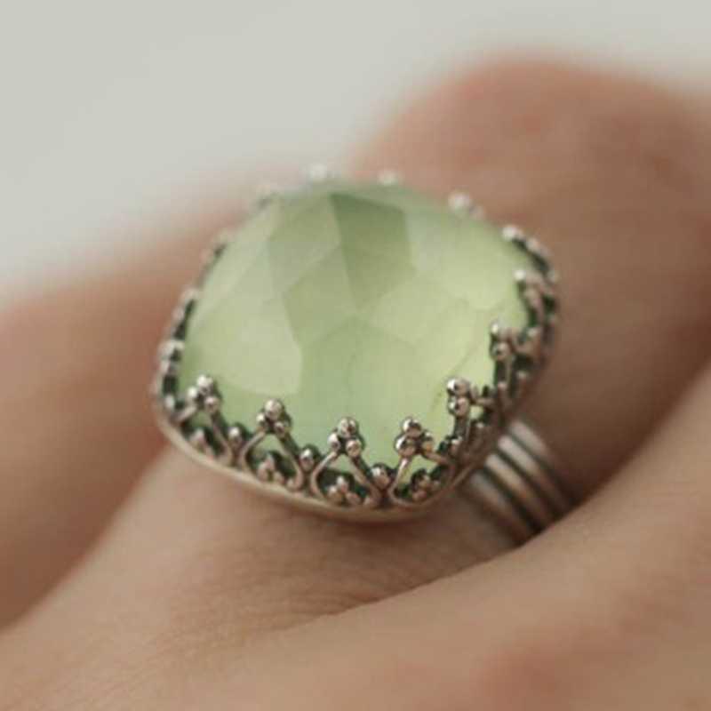 Vintage Thai Silber Mint Grün Mondstein Ring Einfache Grünes Quadrat Zirkon Ring Für Frauen Mode Retro Weibliche Ringe Schmuck
