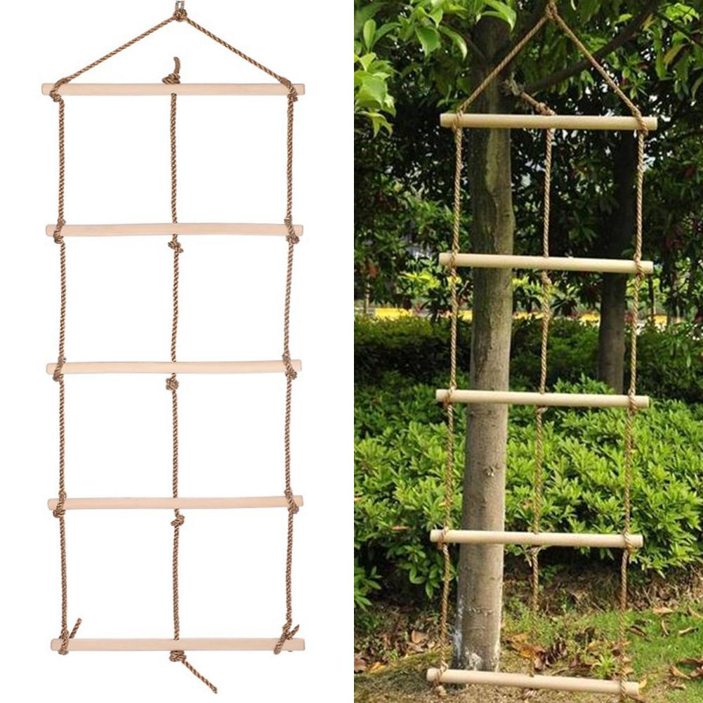 Climb Wooden Rope Ladder Sturdy Rope Climbing Ladder Garden Toy Outdoor Sports Facilities For Children Kid Training Playing Game