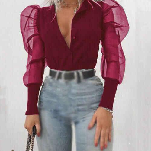 Moda Yeni 2019 kadın V Yaka Gömlek Tül Fırfır Uzun Puf Kollu Gömlek Düz Bayan Gömlek Tüm Eşleşen Sonbahar kadın Üstleri