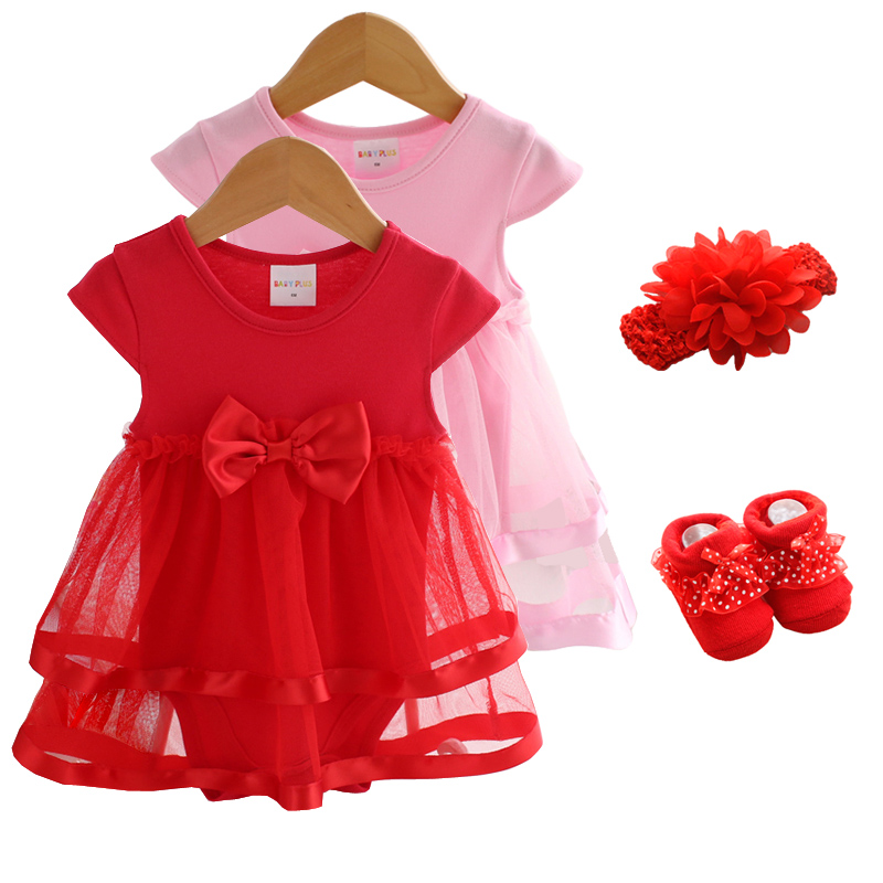 Newborn Baby Girl Dresses&Clothes 1 Year Old Baby Girl Party Dress Summer 3pcs 2019 Socks+Hairband  Baby Girl Dress 3 6 9 Months
