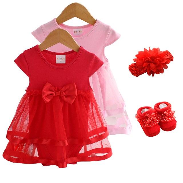 Noworodka dziewczynka sukienki i ubrania 1 rok stara dziewczynka Party Dress lato 3 sztuk 2019 skarpetki + Hairband dziewczynka sukienka 3 6 9 miesięcy